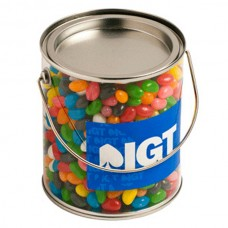 BIG PVC BUCKET FILLED WITH JELLY BEANS 950G (CORP COLOURED OR MIXED COLOURED JELLY BEANS)