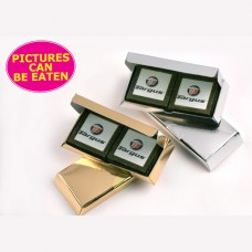 PICTURE CHOCOLATE ? X4 MILK OR DARK CHOCOLATES IN GOLD OR SILVER BOX