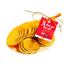 MIXED CHOCOLATE COINS BAG WITH GOLD ELASTIC RIBBON TIED IN A BOW