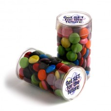 PET TUBE FILLED WITH CHOC BEANS 100G (CORPORATE COLOURS)