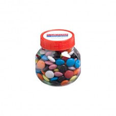PLASTIC JAR FILLED WITH CHOC BEANS 170G (CORPORATE COLOURED CHOC BEANS)