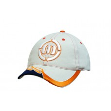 BRUSHED HEAVY COTTON CAP WITH BLAZE EMBROIDERY ON PEAK AND CONTRASTING STITCHING