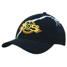 BRUSHED HEAVY COTTON CAP WITH LIGHTENING BOLT EMBROIDERY