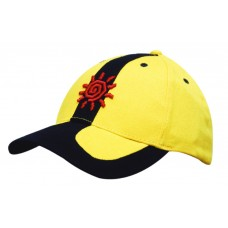 BRUSHED HEAVY COTTON CAP WITH PEAK AND CROWN INSERTS