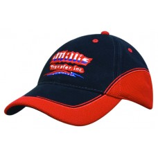 BRUSHED HEAVY COTTON CAP WITH MESH PEAK AND CROWN INSERTS