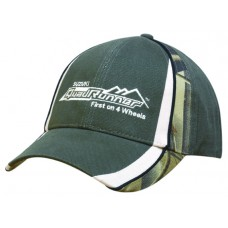 BRUSHED HEAVY COTTON CAP WITH CAMOUFLAGE PEAK AND CROWN INSERTS