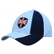 BRUSHED HEAVY COTTON CAP WITH PEAK AND CROWN INDENT AND CONTRASTING PIPING