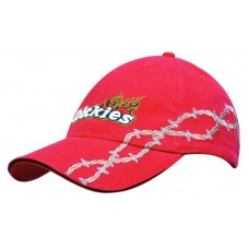 BRUSHED HEAVY COTTON CAP WITH SANDWICH BARBED-WIRE EMBROIDERY