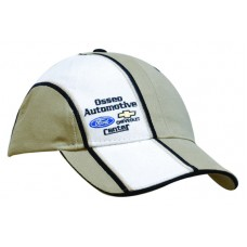 BRUSHED HEAVY COTTON CAP WITH SANDWICH PEAK & CROWN INDENT AND EMBROIDERY STRIPES