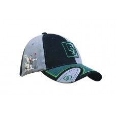 BRUSHED HEAVY COTTON CAP WITH PEAK INSERT, TRIM & TRACING EMBROIDERY LINE