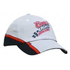BRUSHED HEAVY COTTON CAP WITH CONTRASTING TRIM & FLASH EMBROIDERY