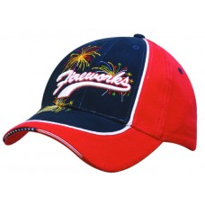 BRUSHED HEAVY COTTON DUAL COLOURED CAP WITH PIPING & STARS & STRIPES SANDWICH