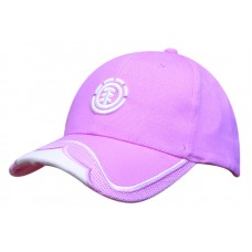 BRUSHED HEAVY COTTON CAP WITH MESH INSERT ON PEAK & EMBROIDERED TRIM