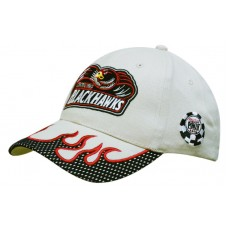 BRUSHED HEAVY COTTON CAP WITH MESH PEAK TRIM & FLAME EMBROIDERY