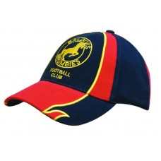 BRUSHED HEAVY COTTON CAP WITH EMBROIDERED EDGED INSERTS TO PEAK & CROWN