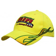 BRUSHED HEAVY COTTON CAP WITH FLAME EMBROIDERY ON PEAK & SIDE