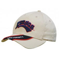 BRUSHED HEAVY COTTON CAP WITH PEAK INSERT & PIPING