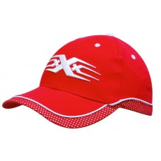 BRUSHED HEAVY COTTON CAP WITH PEAK & CROWN MESH TRIM AND PIPING