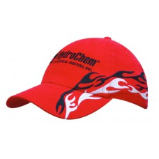 BRUSHED HEAVY COTTON CAP WITH FLAME EMBROIDERY TO PEAK & CROWN