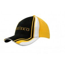 BRUSHED HEAVY COTTON CAP WITH CROWN/PEAK INSERTS & EMBROIDERY