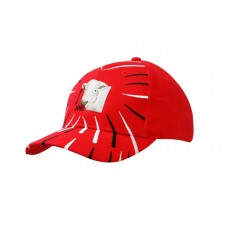 BRUSHED HEAVY COTTON CAP WITH EMBROIDERED LINES ON CROWN & PEAK