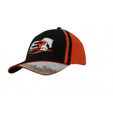 BRUSHED HEAVY COTTON CAP WITH CROWN INSERTS AND DIGITAL PRINT APPLIQUE & EMBROIDERY ON PEAK