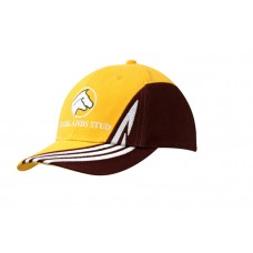 BRUSHED HEAVY COTTON CAP WITH FABRIC INSERT & EMBROIDERED DESIGN ON CROWN & PEAK
