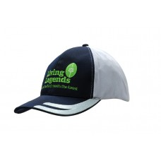 BRUSHED HEAVY COTTON CAP & COOL DRY FABRIC WITH EMBROIDERED DESIGN ON PEAK