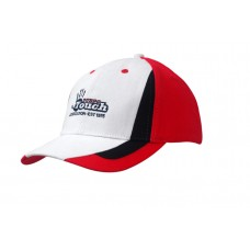 BRUSHED HEAVY COTTON CAP WITH FABRIC INSERTS ON CROWN & PEAK