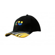 BRUSHED HEAVY COTTON CAP WITH SANDWICH TRIM AND FABRIC INSERTS & EMBROIDERY DESIGN ON PEAK