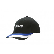 BRUSHED HEAVY COTTON CAP WITH FABRIC STRIPES & EMBROIDERY ON PEAK