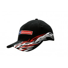 BRUSHED HEAVY COTTON CAP WITH PEAK & CROWN FLAME EMBROIDERY
