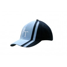 BRUSHED HEAVY COTTON CAP WITH FABRIC INSERTS AND STRIPES ON CROWN & PEAK