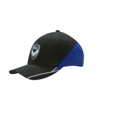 BRUSHED HEAVY COTTON CAP WITH FABRIC INSERTS ON CROWN & PEAK, EMBROIDERED LINES ON PEAK