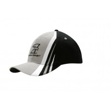 BRUSHED HEAVY COTTON CAP WITH FABRIC INSERTS AND EMBROIDERY ON CROWN & PEAK