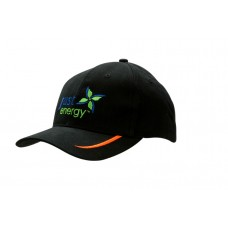 BRUSHED HEAVY COTTON CAP WITH PEAK EMBROIDERED LINES