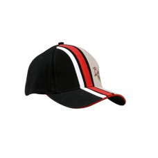 BRUSHED HEAVY COTTON CAP WITH STRIPES ON CROWN & PEAK WITH SANDWICH TRIM