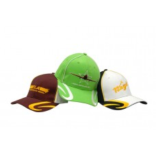 BRUSHED HEAVY COTTON CAP WITH CROWN PIPING & PEAK SWIRL EMBROIDERY
