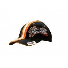 BRUSHED HEAVY COTTON CAP WITH SANDWICH TRIM & FABRIC STRIPES ON CROWN & PEAK