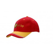 BRUSHED HEAVY COTTON CAP WITH FABRIC INSERT & EMBROIDERY ON PEAK