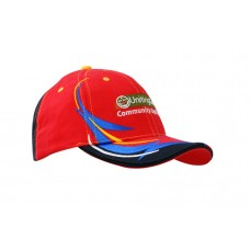 BRUSHED HEAVY COTTON CAP WITH EMBROIDERED TRIM ON CROWN & PEAK