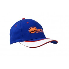 BRUSHED HEAVY COTTON CAP WITH SANDWICH TRIM & PEAK INDENT/EMBROIDERY