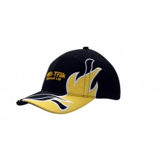 BRUSHED HEAVY COTTON CAP WITH FABRIC INSERTS/EMBROIDERY ON CROWN & PEAK