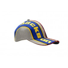 BRUSHED HEAVY COTTON CAP WITH SANDWICH TRIM & FABRIC INSERTS/EMBROIDERED LINES ON CROWN & PEAK
