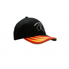 BRUSHED HEAVY COTTON CAP WITH FABRIC INSERT & EMBROIDERY ON PEAK WITH SANDWICH TRIM
