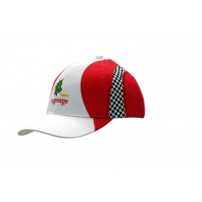 BRUSHED HEAVY COTTON CAP WITH PRINT CHECKS INSERTS AND EMBRIODERY ON CROWN  & PEAK