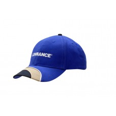 BRUSHED HEAVY COTTON CAP WITH FABRIC INSERTS & PIPING ON CROWN & PEAK