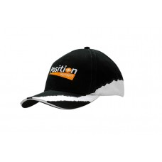 BRUSHED HEAVY COTTON CAP WITH SANDWICH TRIM & INSERTS/EMBROIDERY ON CROWN & PEAK