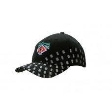 BRUSHED HEAVY COTTON CAP WITH EMBROIDERED SQUARES ON CROWN & PEAK