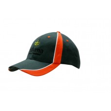 BRUSHED HEAVY COTTON CAP WITH FABRIC INSERTS & PIPING